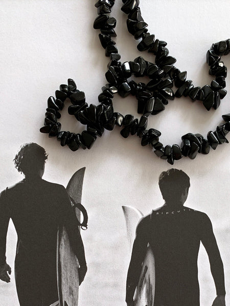 The Surfer Boy Necklace (Black Obsidian) IN STOCK