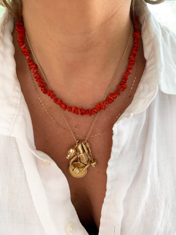 The Surfer Boy Necklace (Coral) IN STOCK