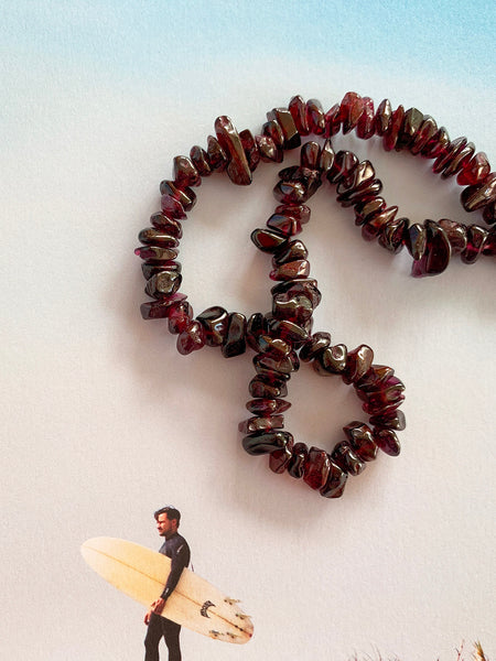 The Surfer Boy Necklace (Garnet) IN STOCK