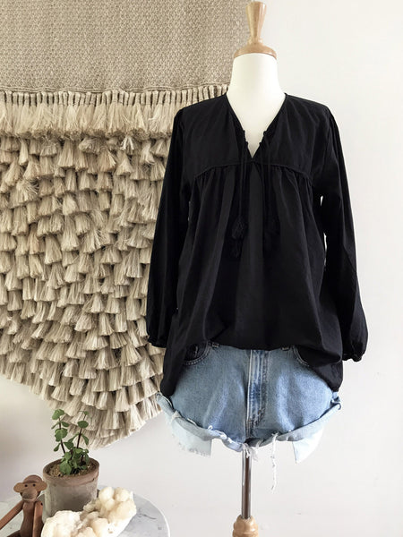 "Chowchilla Vintage Gypset Blouse ""Cotton Gauze Black"""