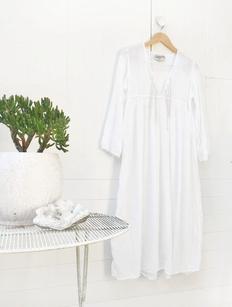 "Chowchilla Vintage Cotton Gauze Gypset Dress ""White"""