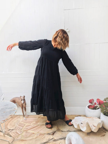 "Chowchilla Vintage Tiered Prairie Dress ""Black"""