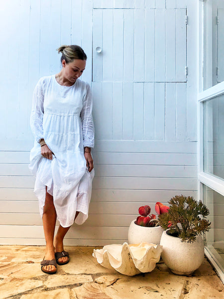 "Chowchilla Vintage Tiered Prairie Dress ""Chalk"""
