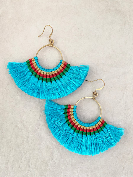 Havanah Ray Tassel Earrings (Aqua)