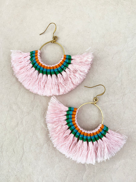 Havanah Ray Tassel Earrings (Blush)
