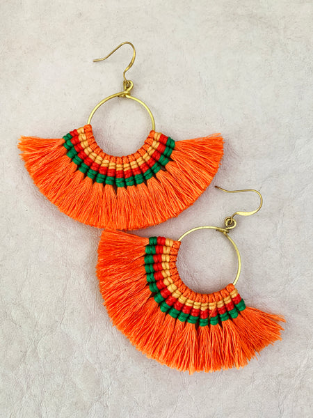 Havanah Ray Tassel Earrings (Tangerine)