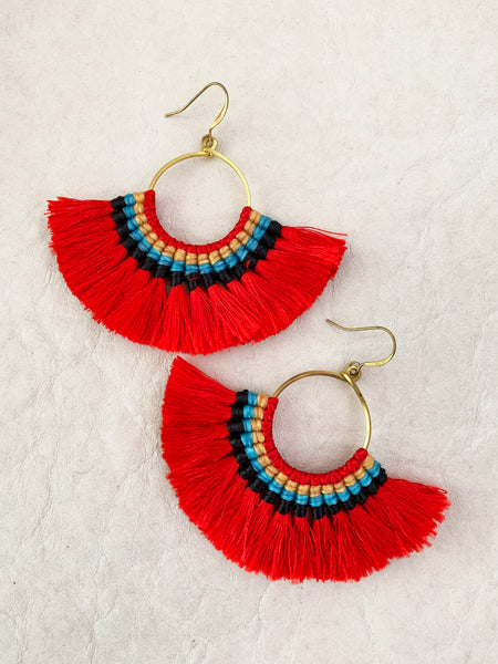 Havanah Ray Tassel Earrings (Tomato)