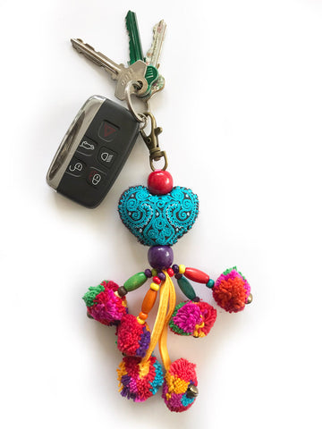 LOVE IS LOVE Pompom Key Ring (Aqua)