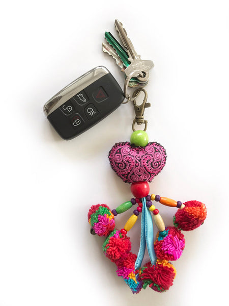 LOVE IS LOVE Pompom Key Ring (Cherry)