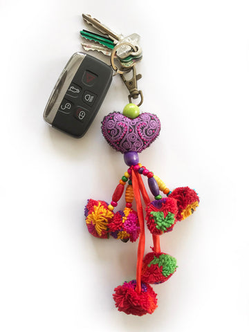 LOVE IS LOVE Pompom Key Ring (Lavender)