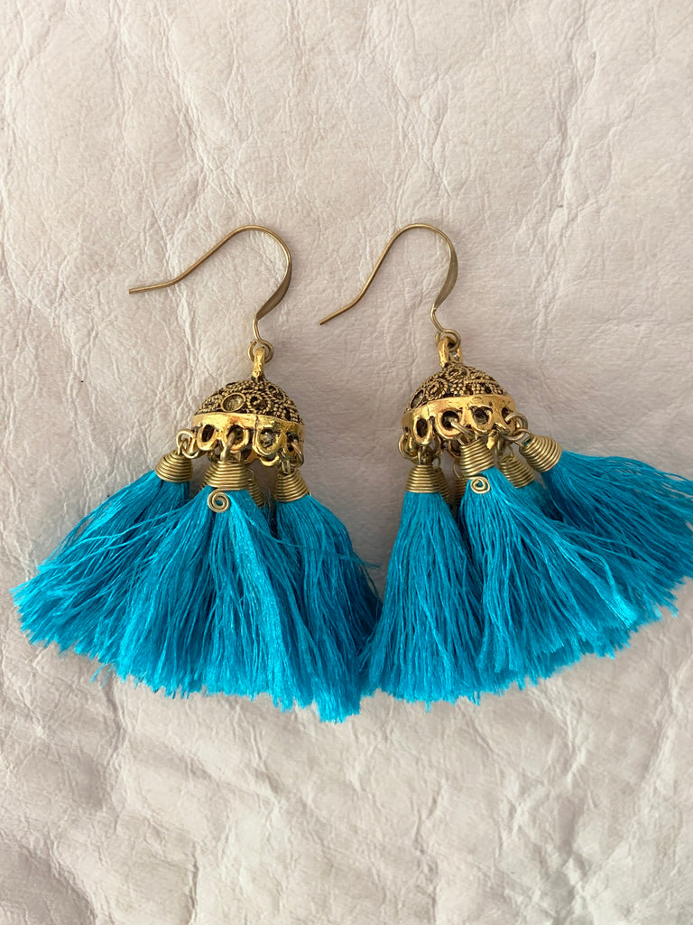 Jedi Tassel Earrings (Aqua)