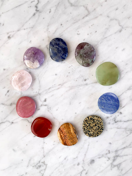 CHAKRA Palm Stone Crystal Set (10 pieces) NEW