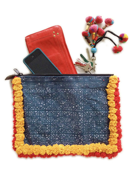 Almighty Love Pompom Clutch (Yellow/Red) IN STOCK