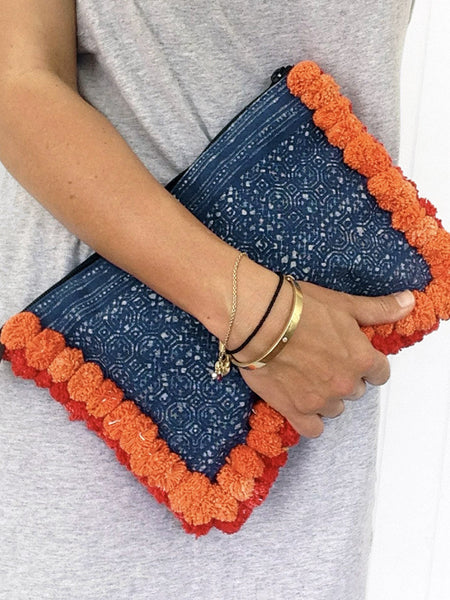 Table Tonic Almighty Love Pompom Clutch Bag Orange Red