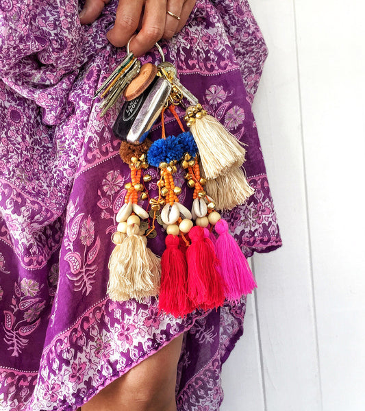 Folk Town Embellished Tassel Key Ring (Red)