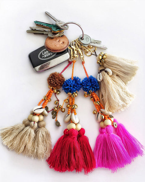 Folk Town Embellished Tassel Keyring (Fuchsia) MORE COMING SOON