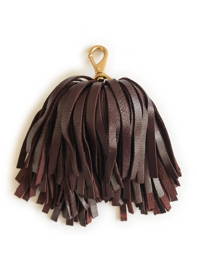 The Goods Tassel Key Ring in Nappa Leather (Red Wine)