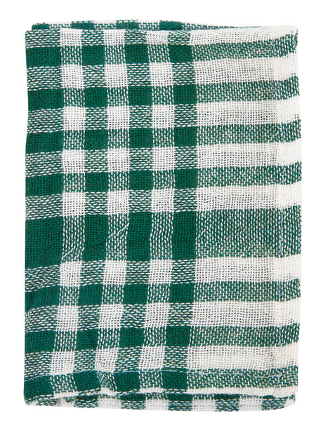 Indian Cotton Dish Cloth/Napkin (White/Dark Green Plaid) 40x25cm