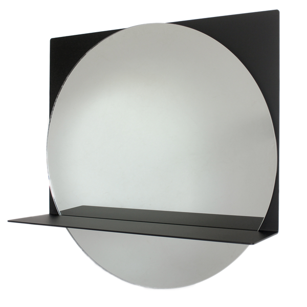 contemporary mirror, black, clear glass