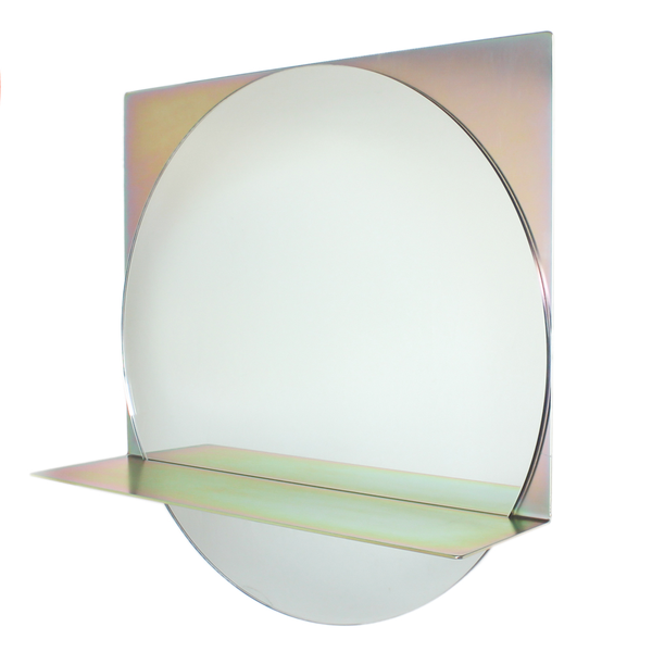 contemporary mirror, yellow zinc, clear glass
