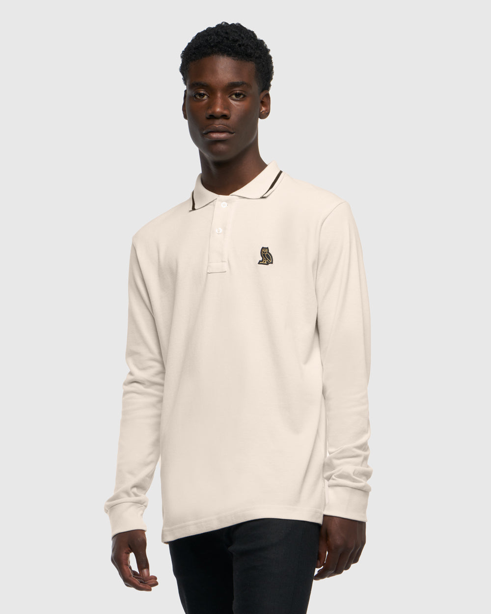 LONGSLEEVE POLO - CREAM