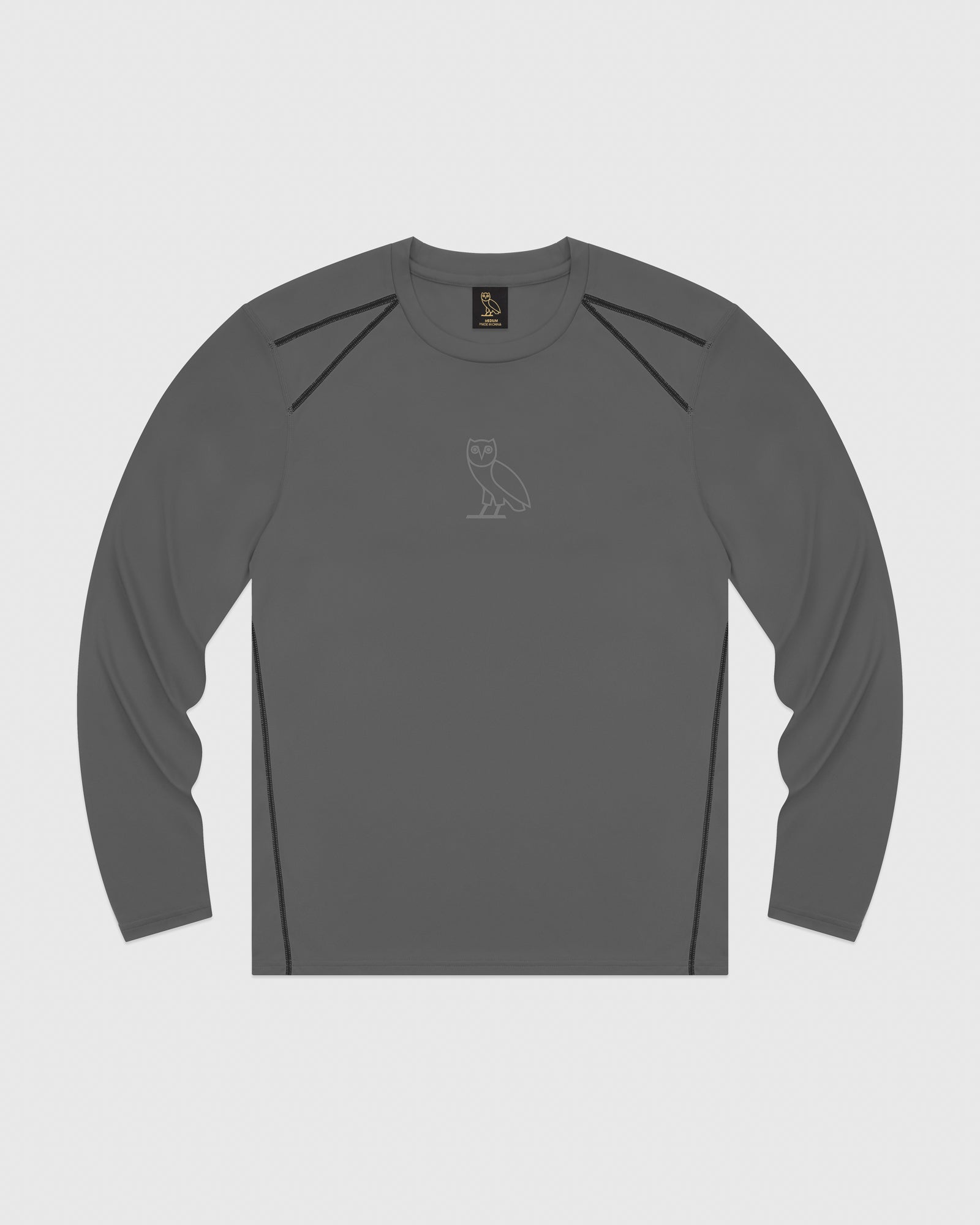 OVO OWL PERFORMANCE LONGSLEEVE T-SHIRT - GREY IMAGE #1