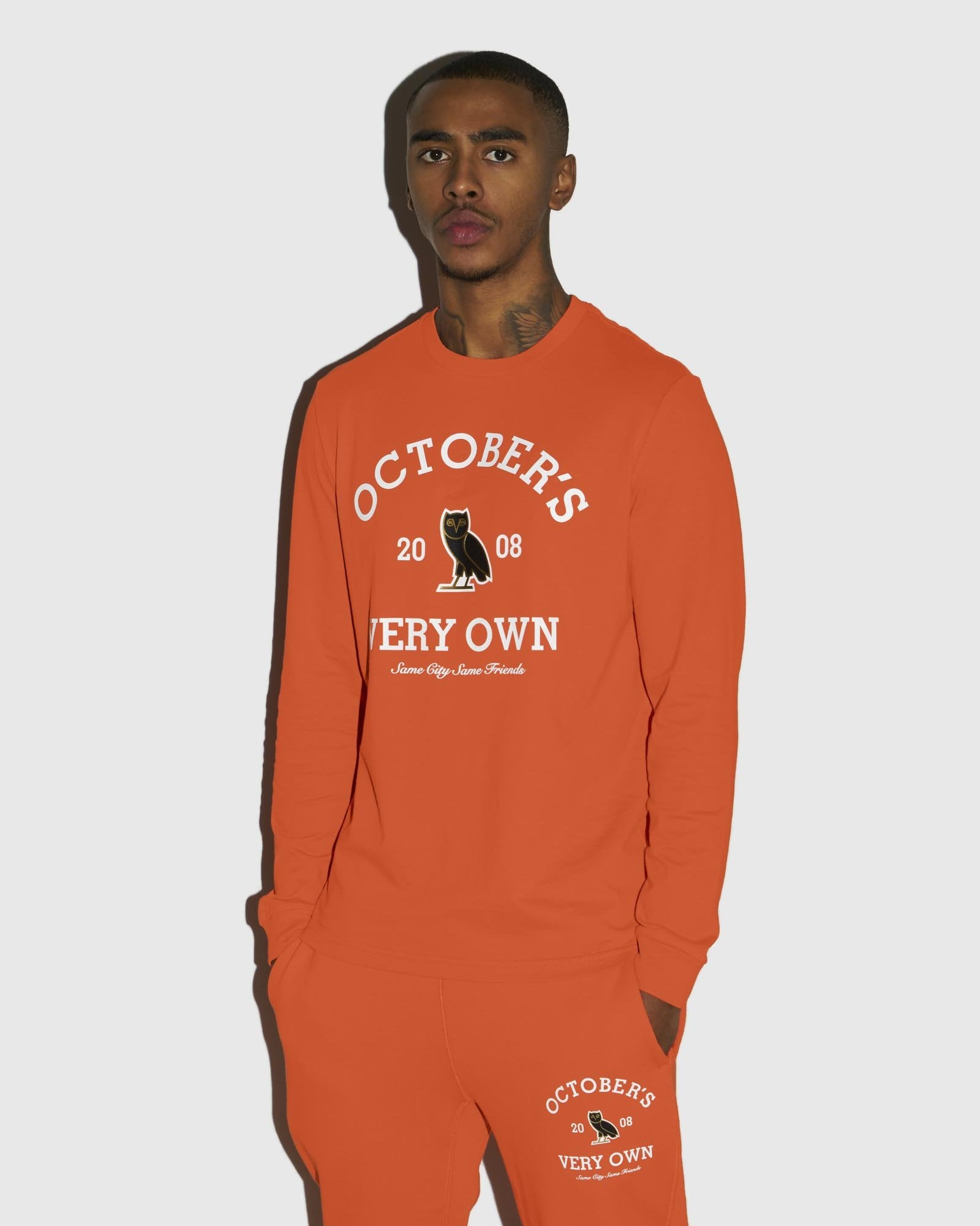 COLLEGIATE ARCH LONGSLEEVE T-SHIRT - ORANGE IMAGE #2