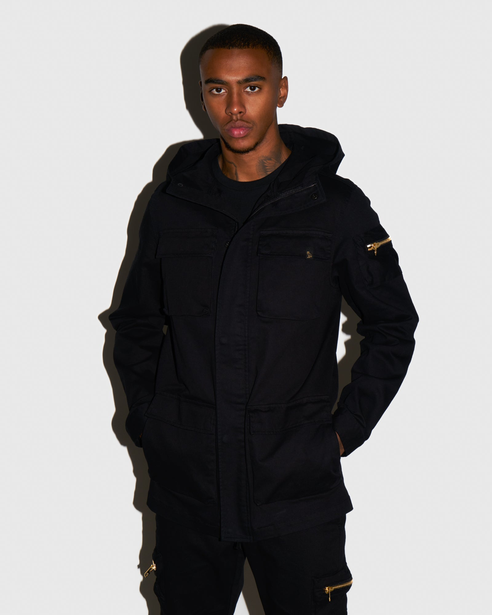 HOODED CARGO JACKET - BLACK IMAGE #2