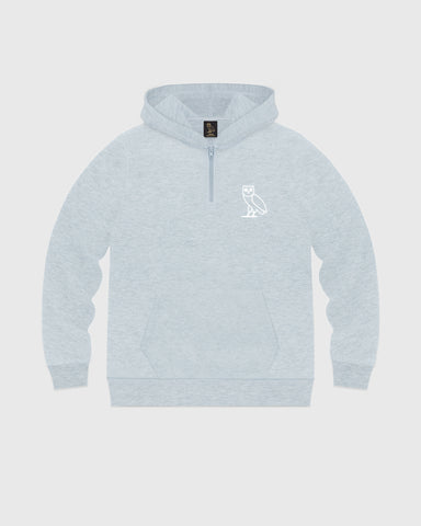 DOUBLE KNIT QUARTER-ZIP HOODIE - HEATHER BLUE