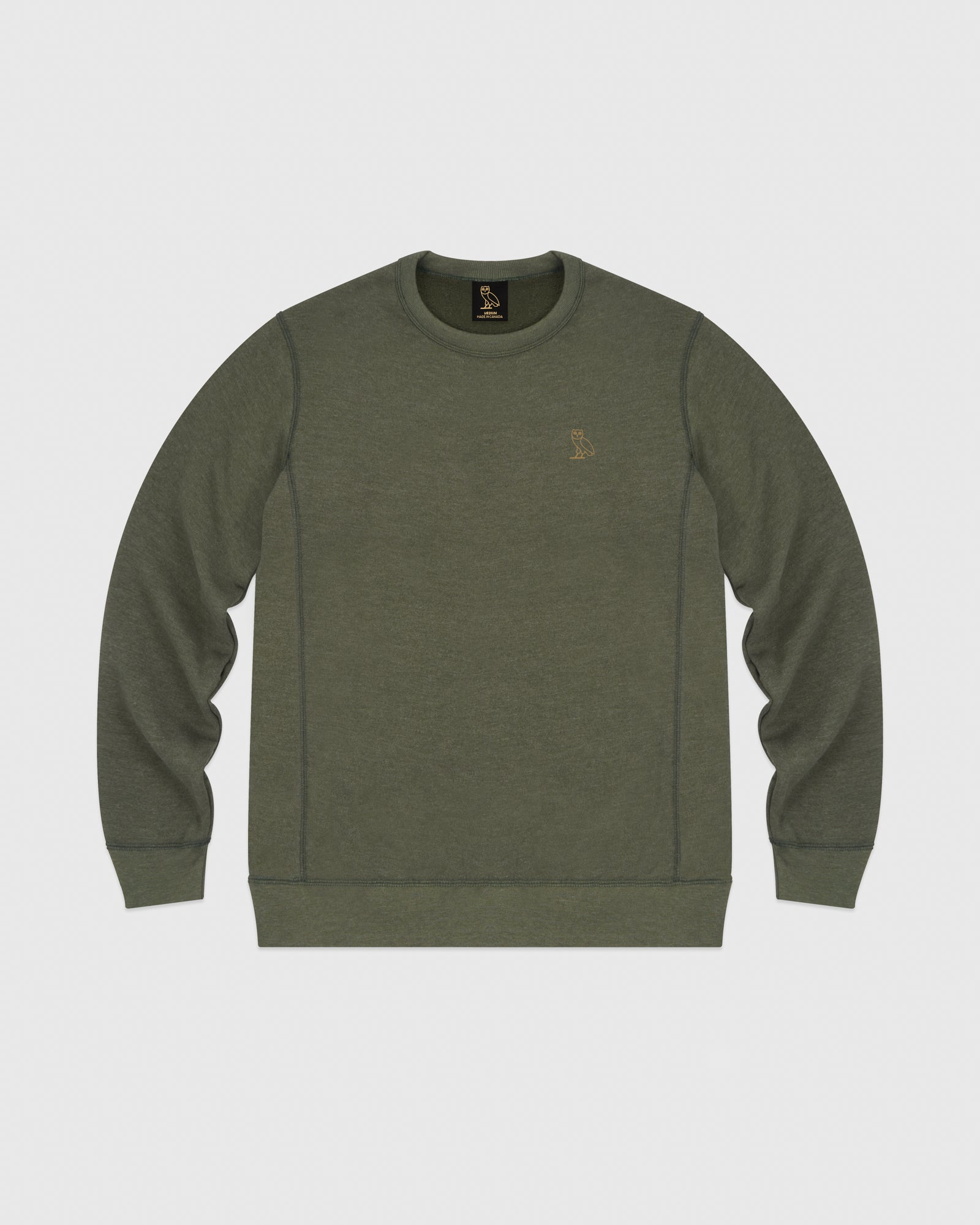 OVO FRENCH TERRY CREW - HEATHER MILITARY GREEN