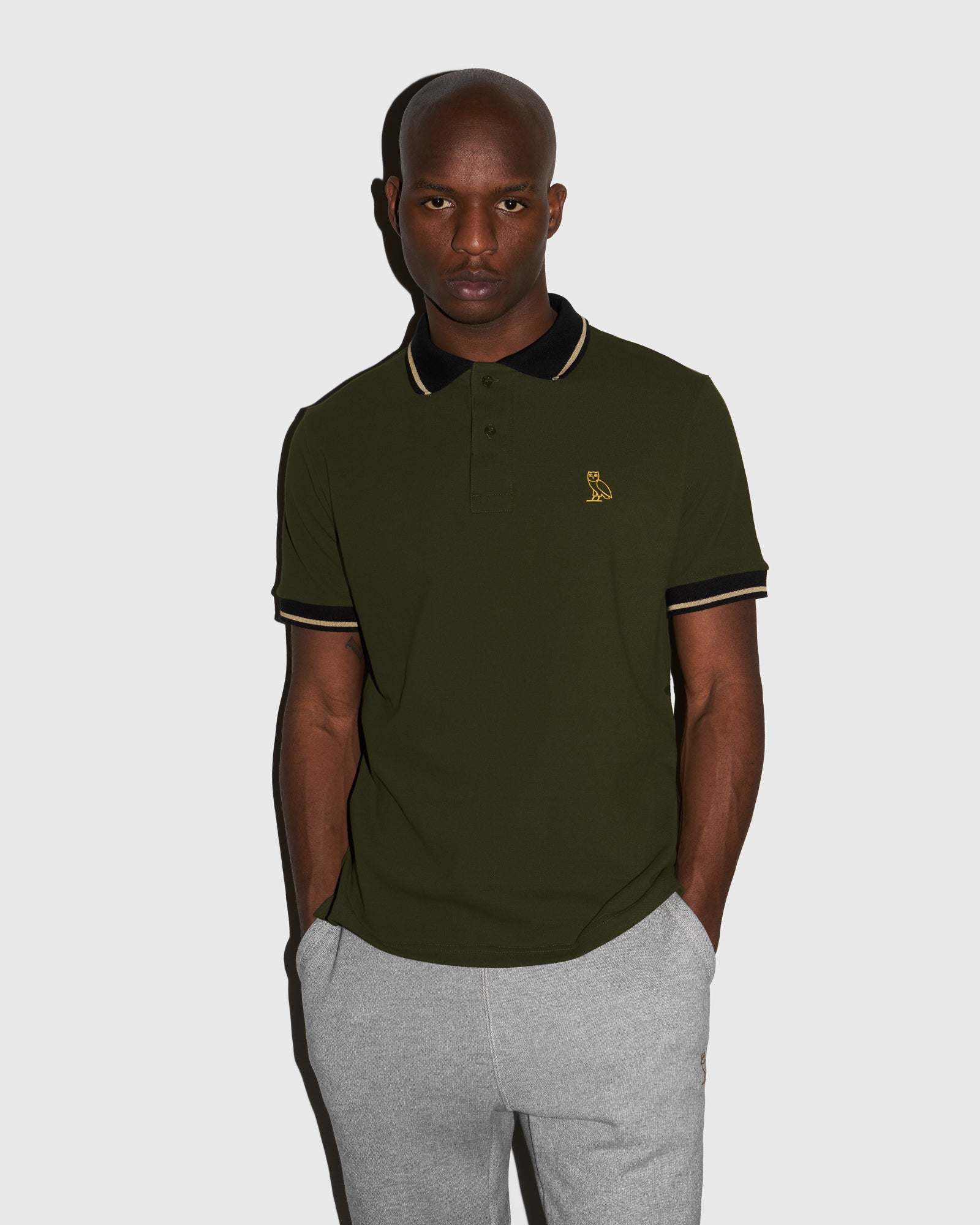 OVO PIQUE POLO - MILITARY GREEN IMAGE #2