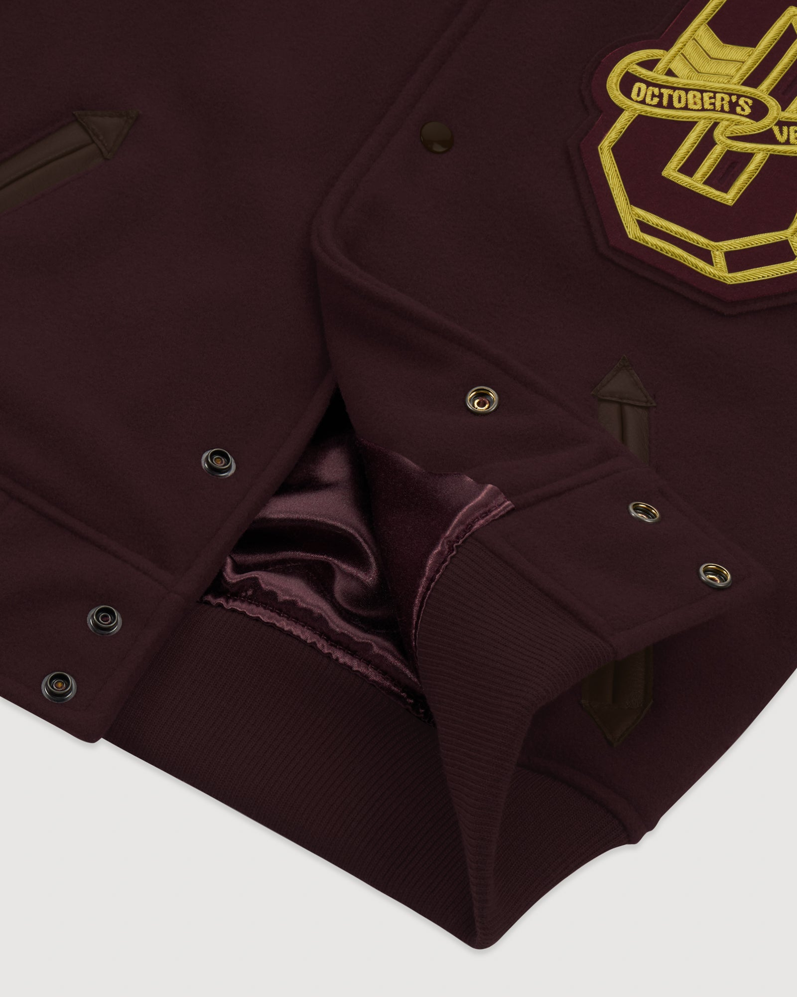 OVO GRADUATE MELTON LEATHER JACKET - BURGUNDY