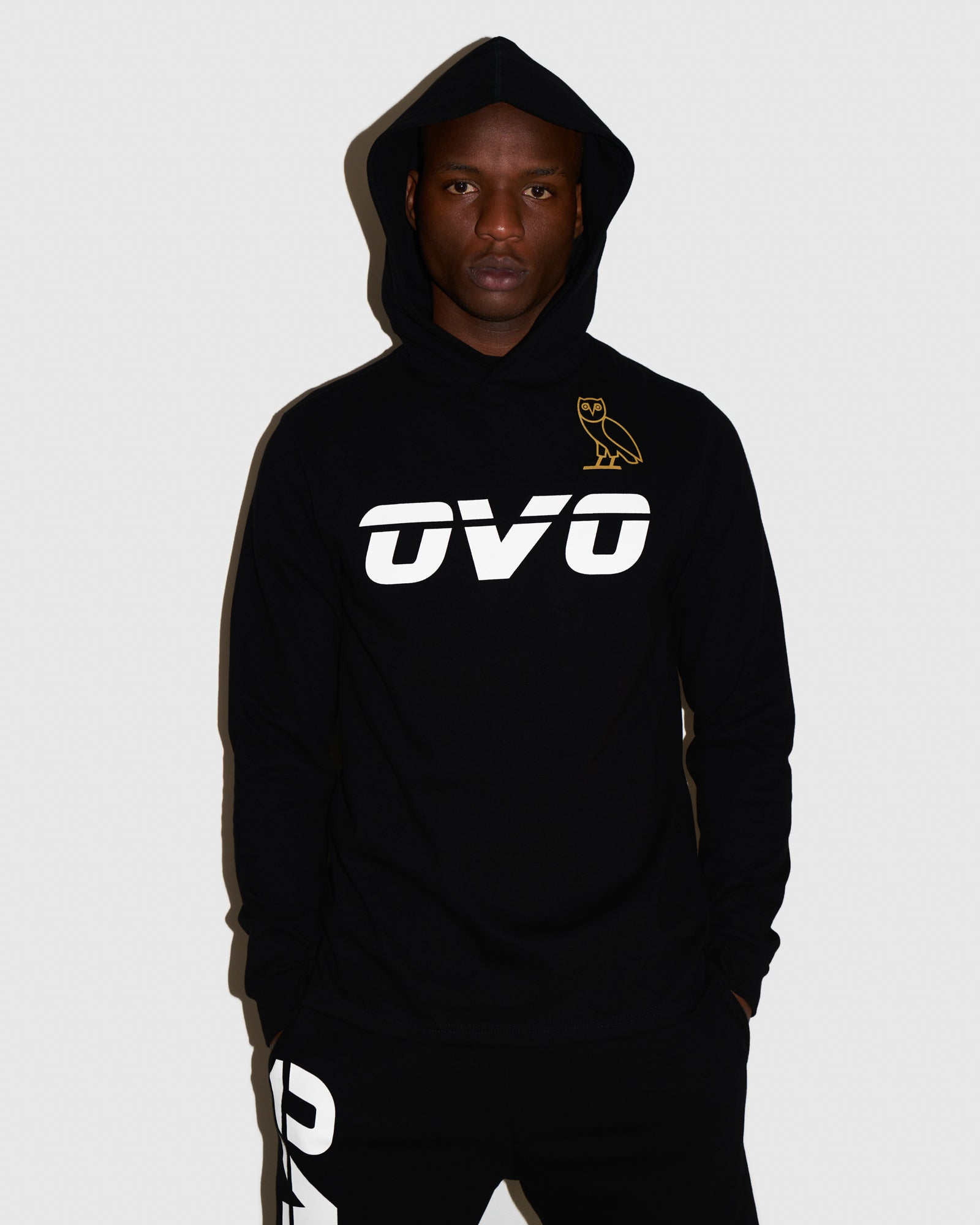 OVO RUNNER HEAVYWEIGHT JERSEY HOODIE - BLACK IMAGE #2
