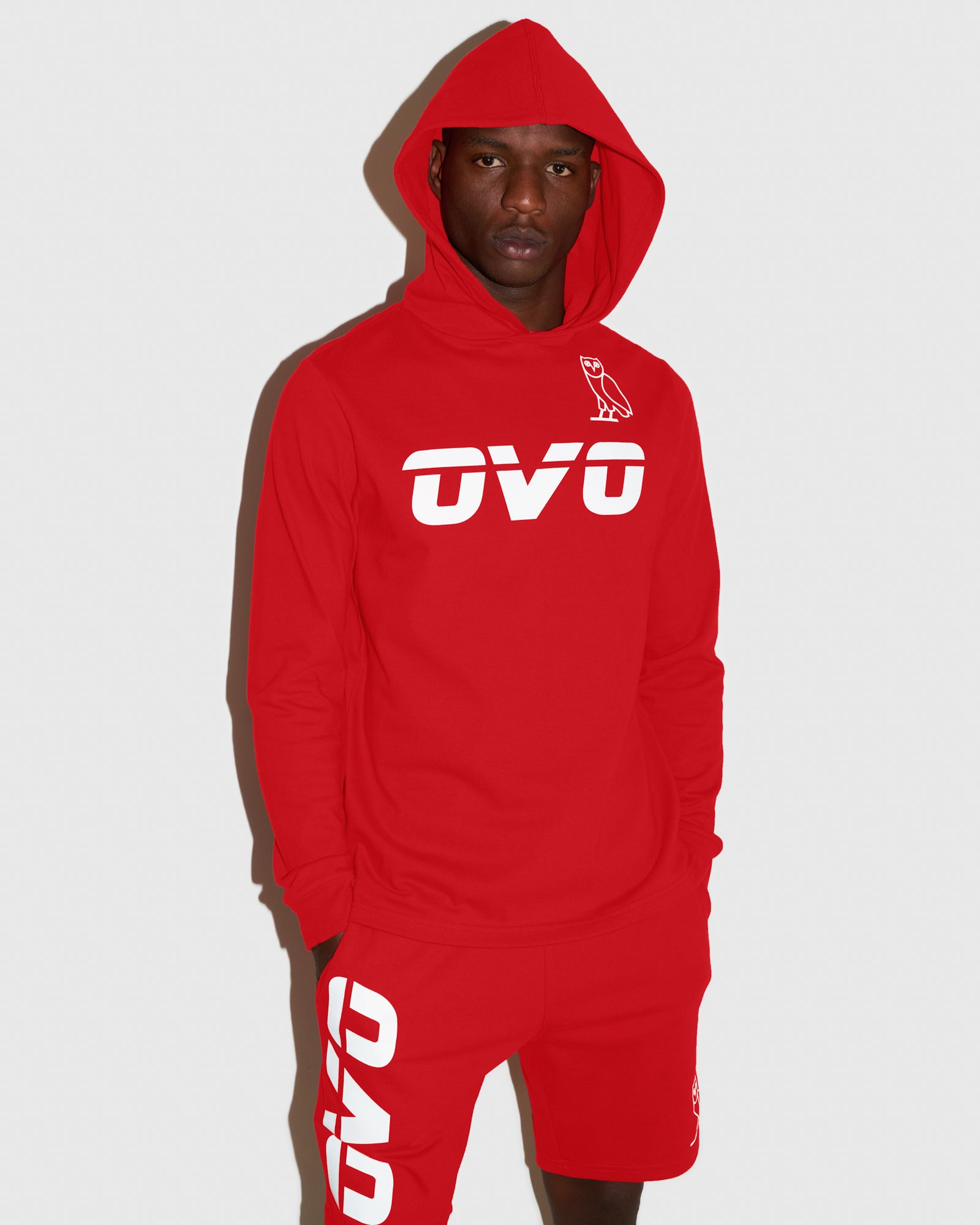 OVO RUNNER HEAVYWEIGHT JERSEY HOODIE - RED IMAGE #2