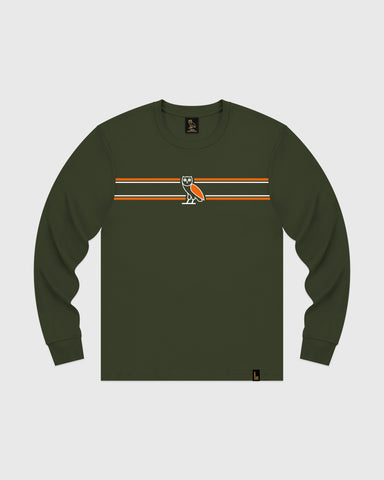 6c564bc46cac OVO CHEST STRIPE LONGSLEEVE - MILITARY GREEN