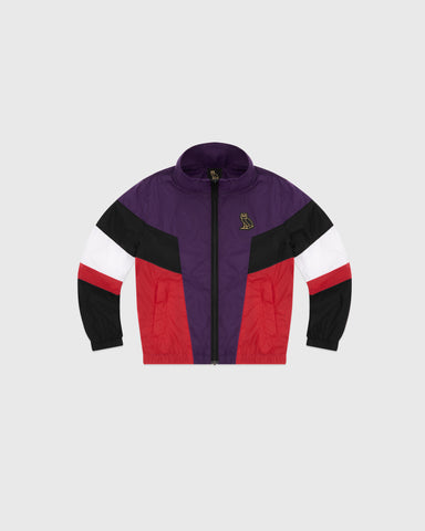 KIDS COLOUR BLOCK NYLON JACKET - RED