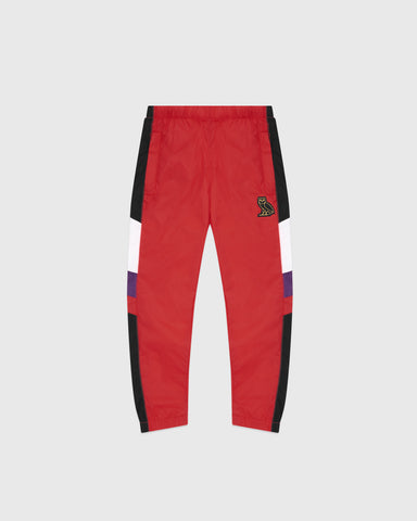KIDS COLOUR BLOCK NYLON PANT - RED