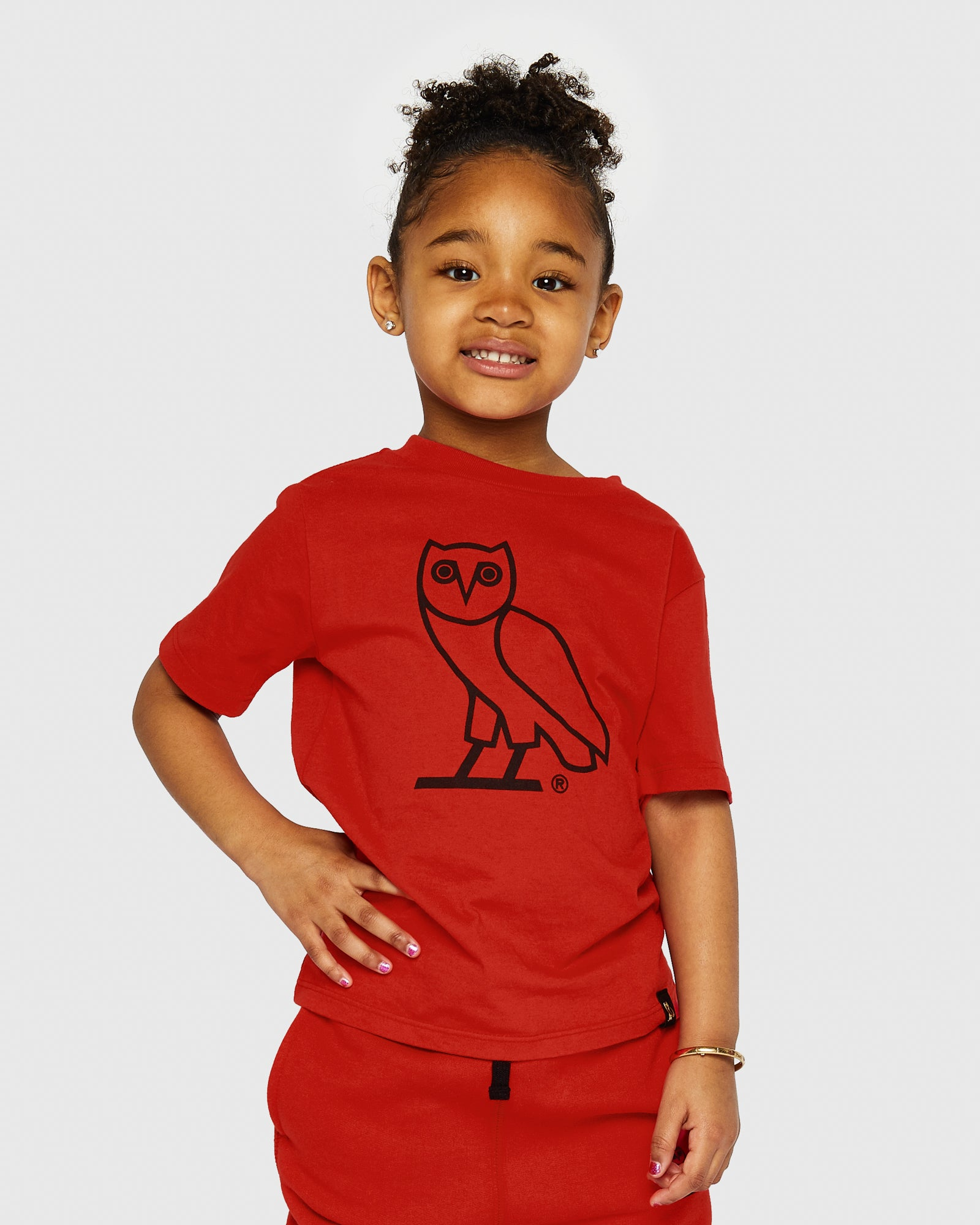 KIDS OG OWL T-SHIRT - RED IMAGE #2