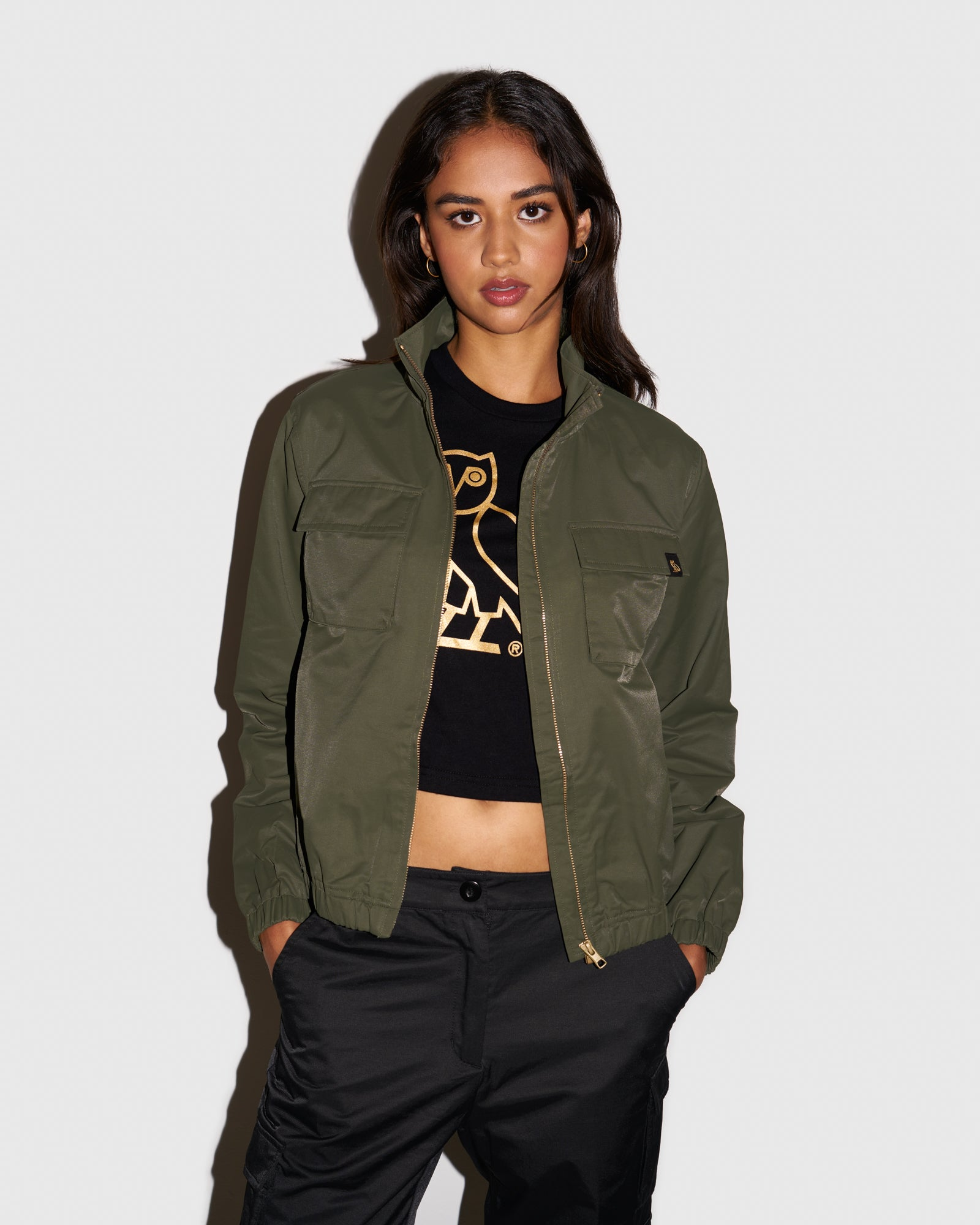 WOMEN'S OVO NYLON JACKET - STONE GREEN IMAGE #2