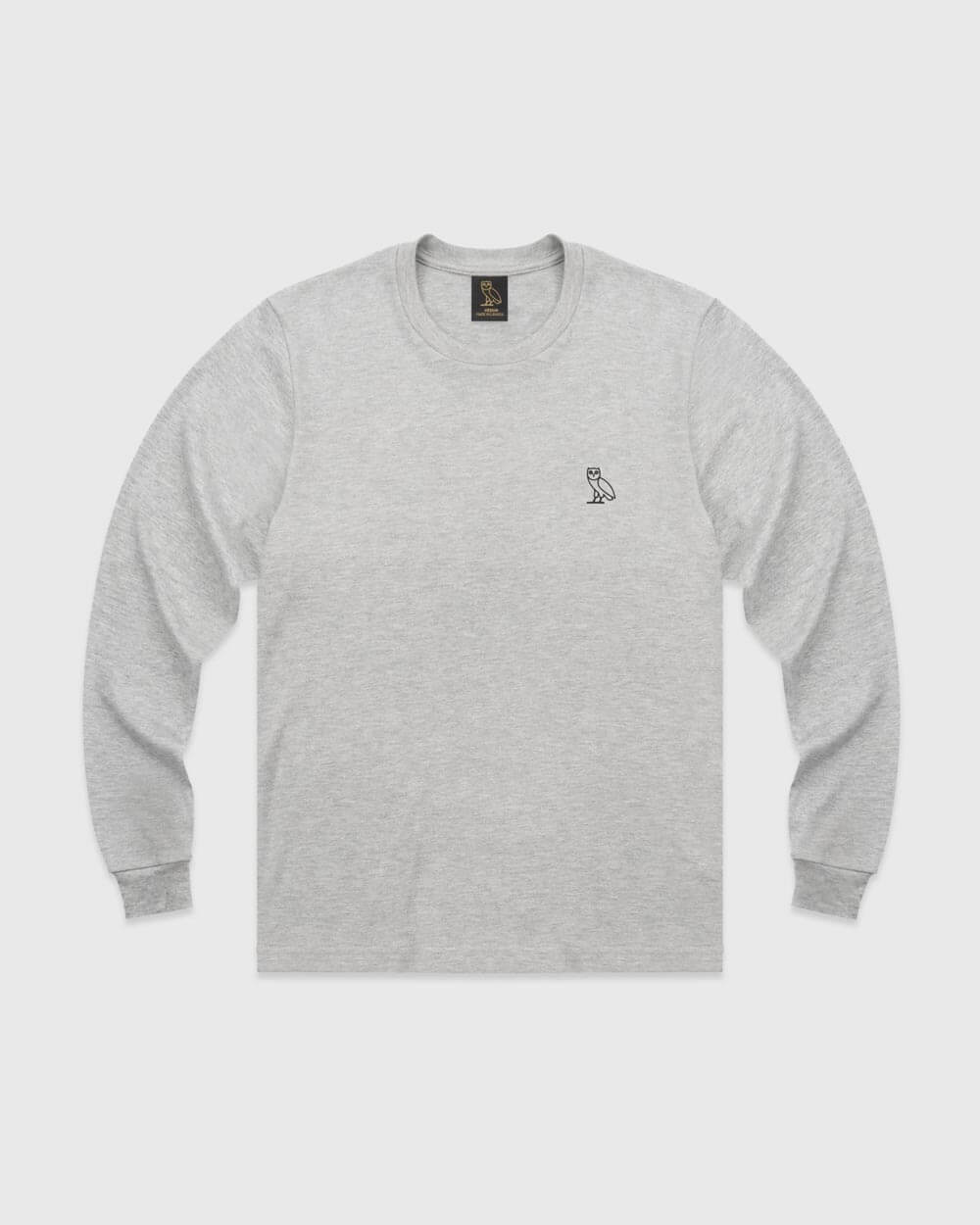 OVO ESSENTIALS LONGSLEEVE T-SHIRT - HEATHER GREY IMAGE #1