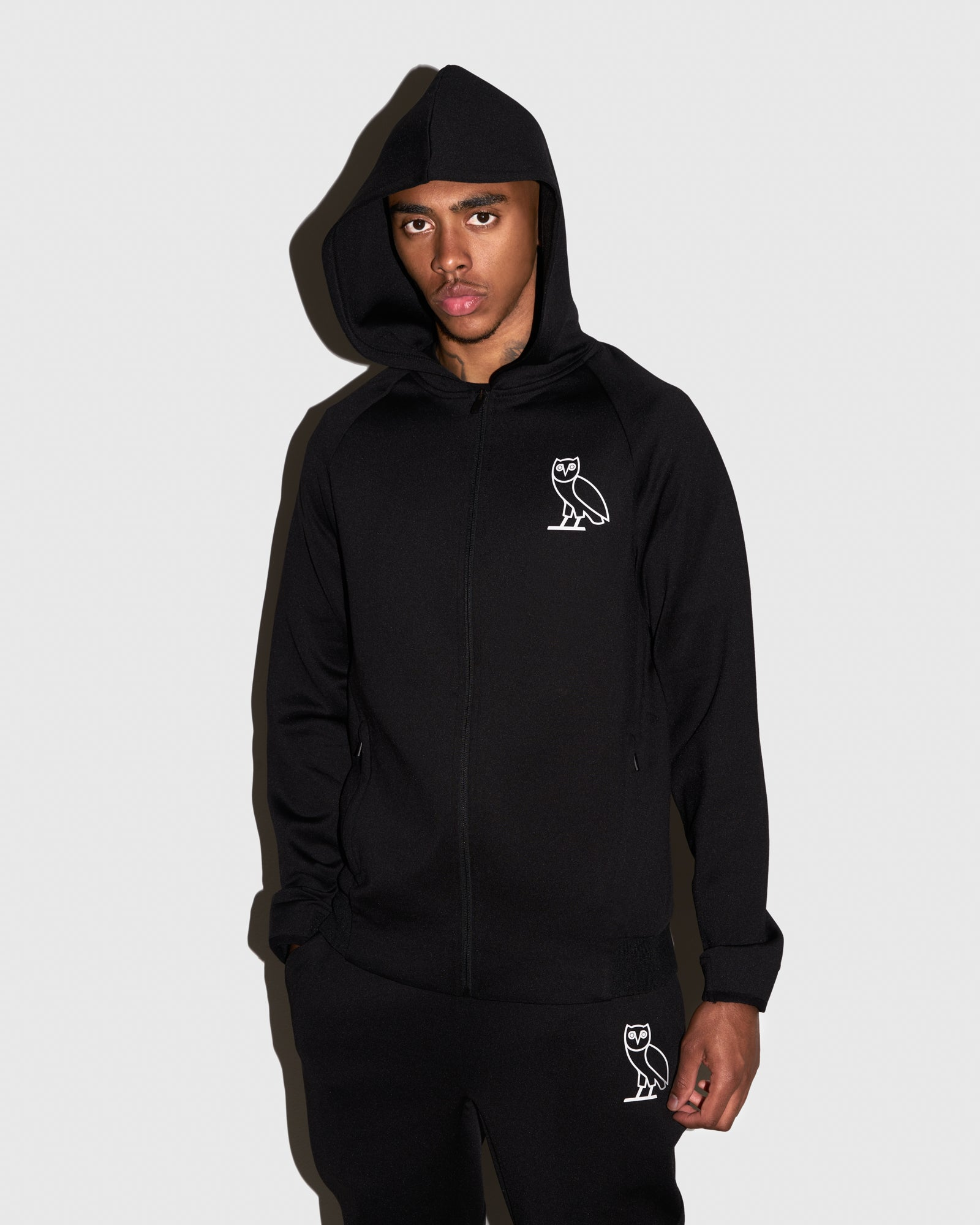 OVO DOUBLE KNIT ZIP HOODIE - BLACK