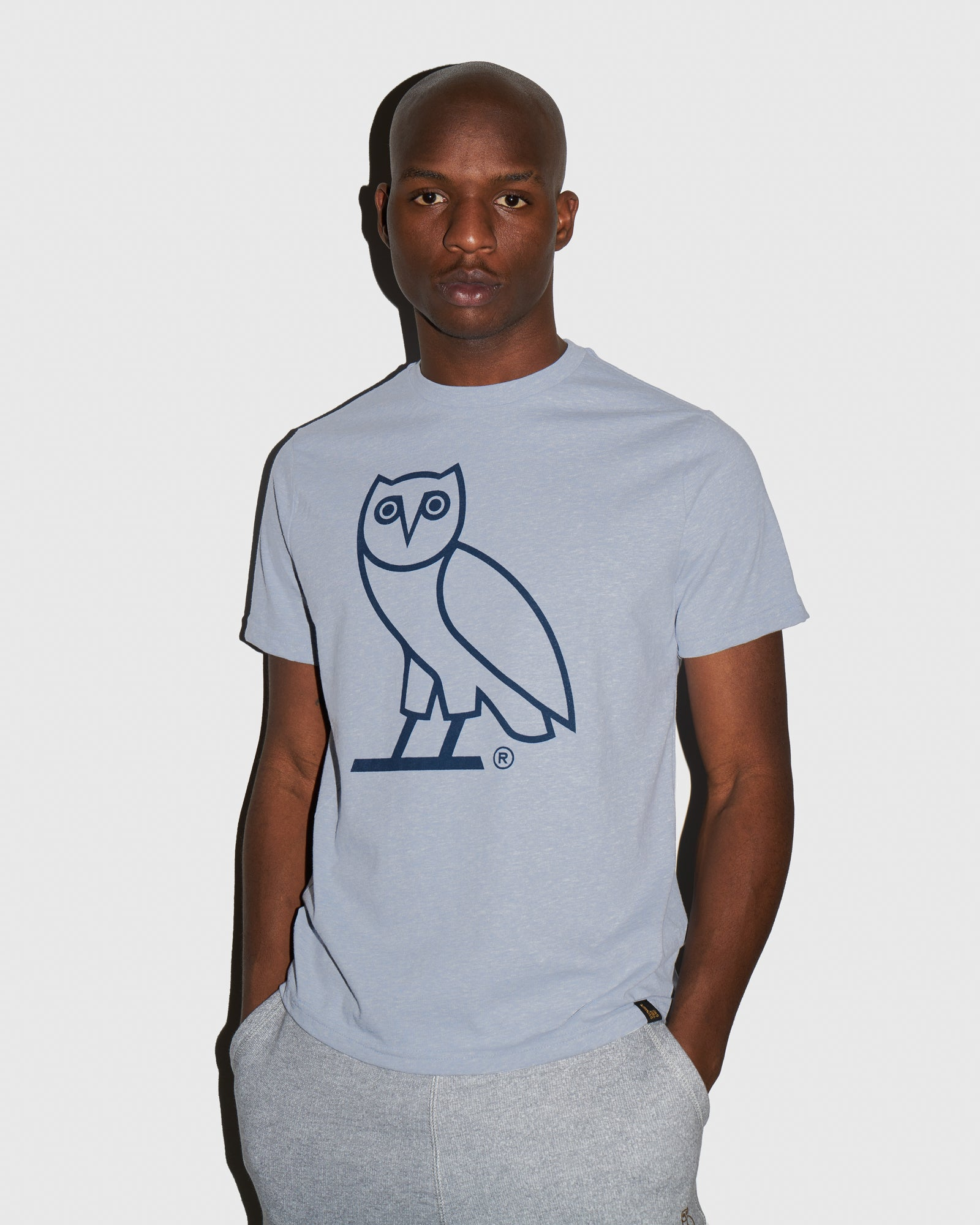 DISCHARGE OWL T-SHIRT - HEATHER LIGHT BLUE