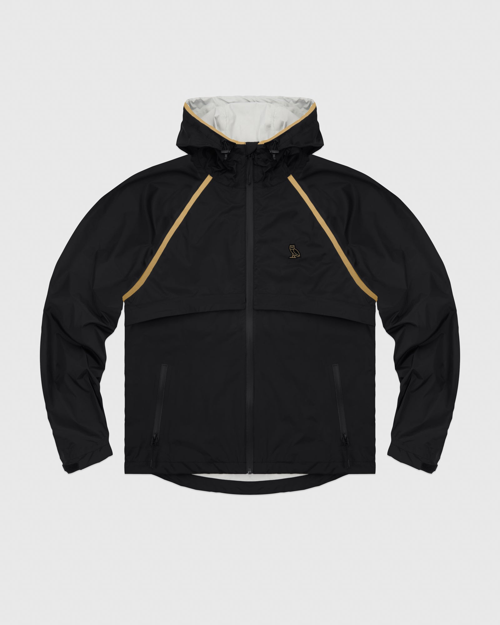 OVO HOODED SHELL JACKET - BLACK/GOLD IMAGE #1