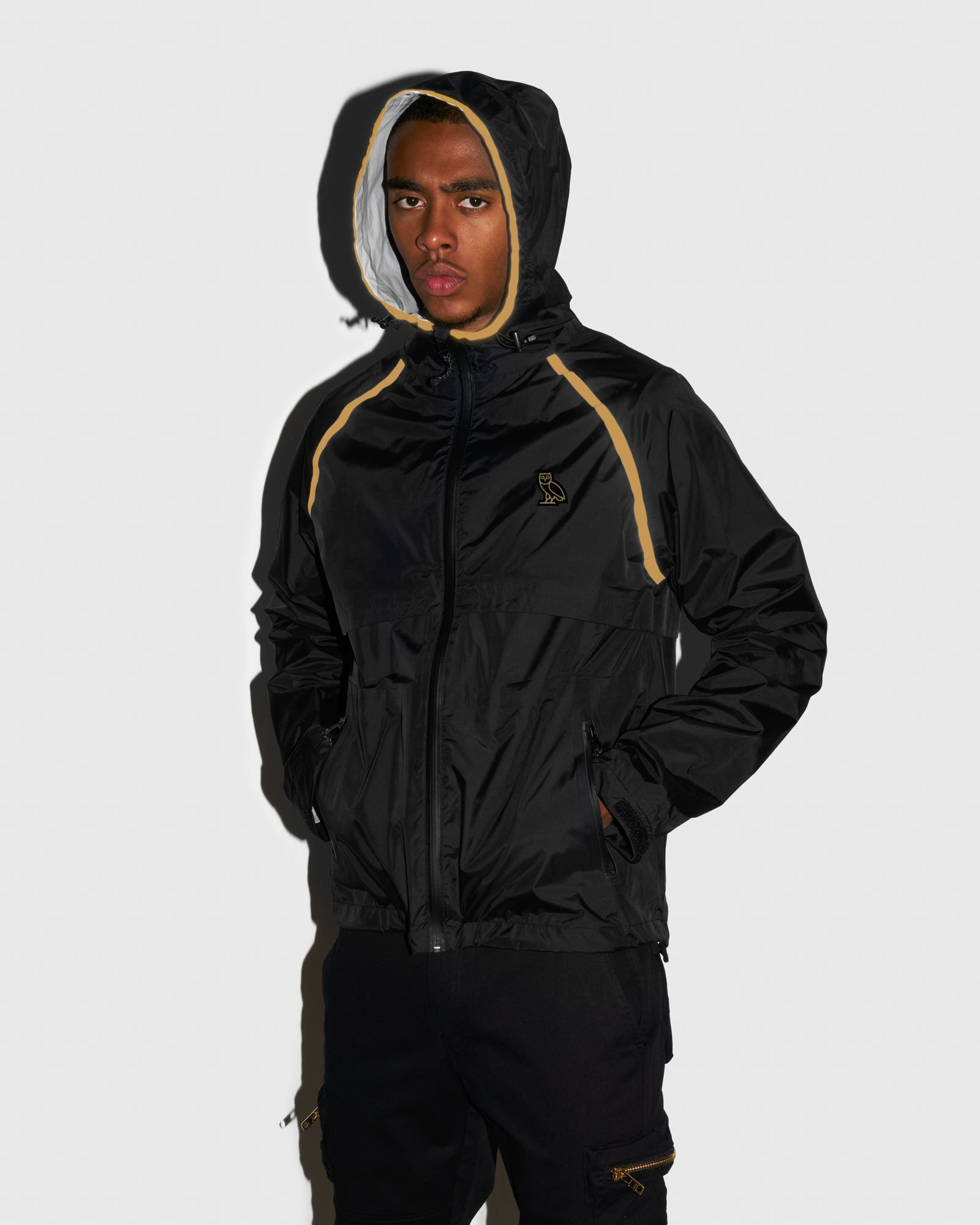 OVO HOODED SHELL JACKET - BLACK/GOLD IMAGE #2