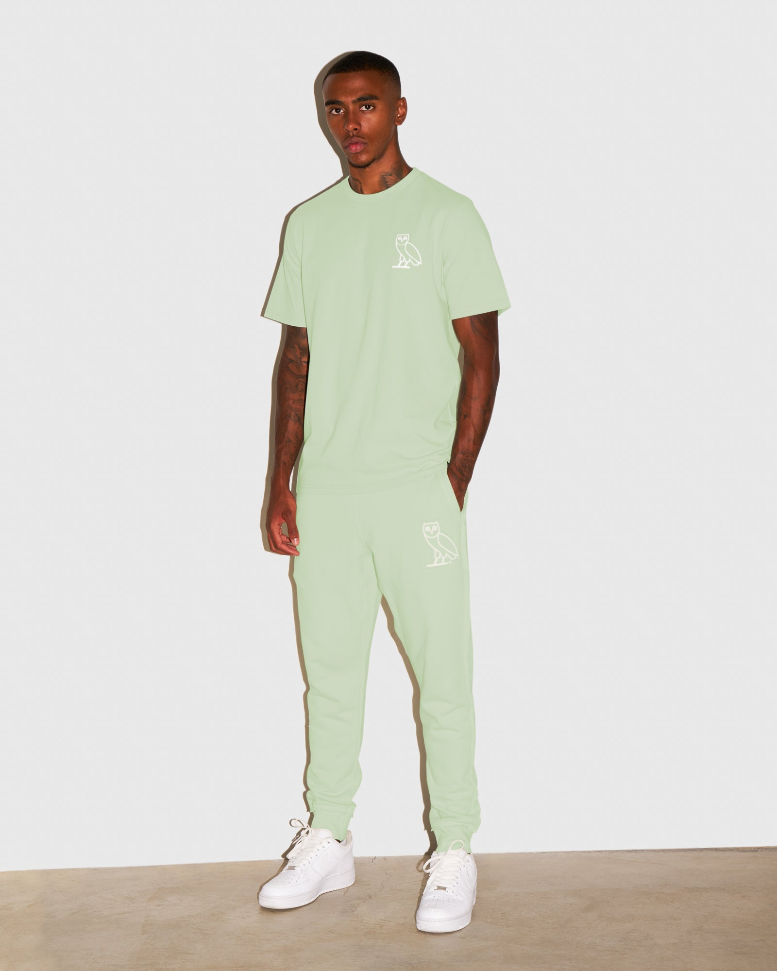 RAW EDGE FRENCH TERRY SWEATPANT - MINT IMAGE #2