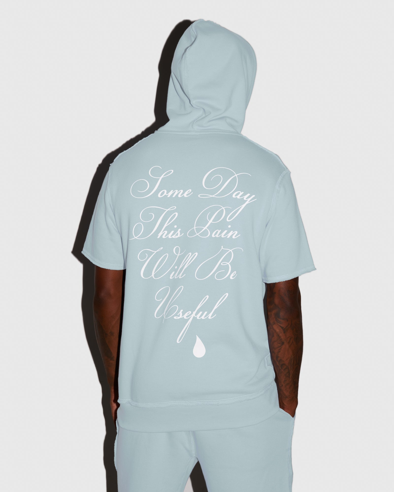 RAW EDGE FRENCH TERRY SHORT SLEEVE HOODIE - BABY BLUE IMAGE #3