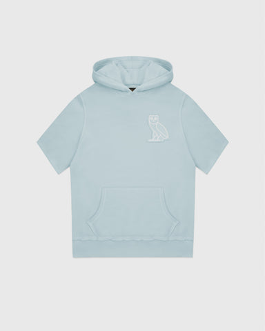 RAW EDGE FRENCH TERRY SHORT SLEEVE HOODIE - BABY BLUE