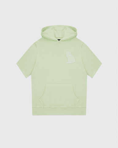 RAW EDGE FRENCH TERRY SHORT SLEEVE HOODIE - MINT