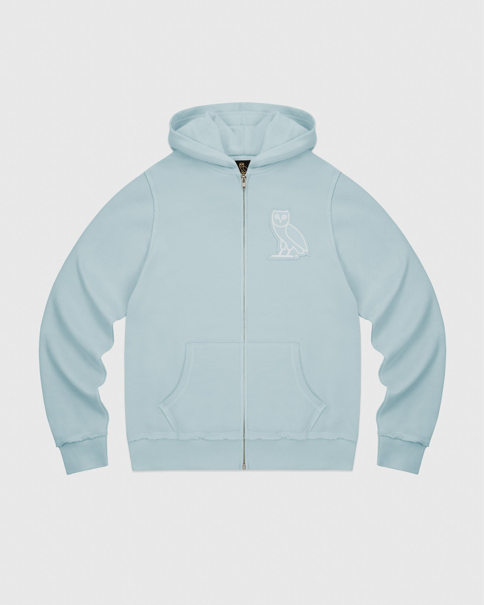 RAW EDGE FRENCH TERRY ZIP HOODIE - BABY BLUE IMAGE #1