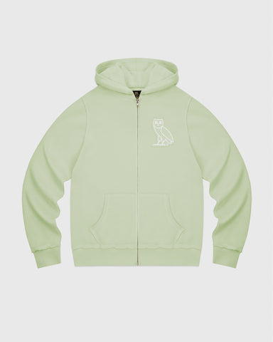 RAW EDGE FRENCH TERRY ZIP HOODIE - MINT